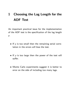 1 Choosing the Lag Length for the ADF Test