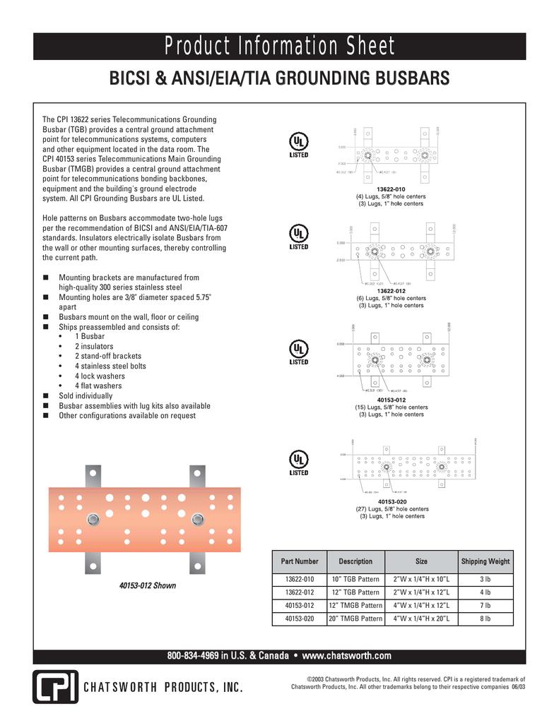 Wall Mount Busbar Kit 5 Cutsheet Tmg Pattern Busbar 2