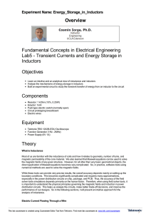 Transient Currents and Energy Storage in Inductors