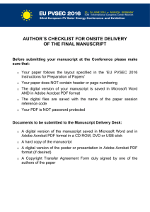 AUTHOR´S CHECKLIST FOR ONSITE DELIVERY OF THE FINAL