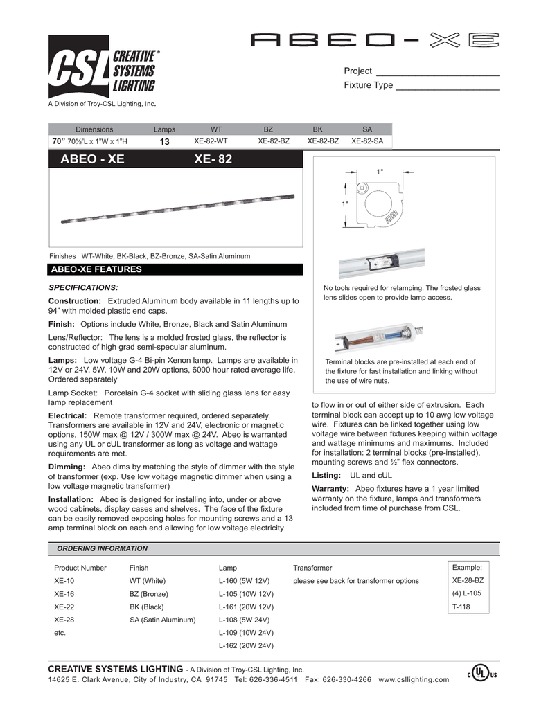 Uc 11 09 Spec Sheets Indd Creative Systems Lighting
