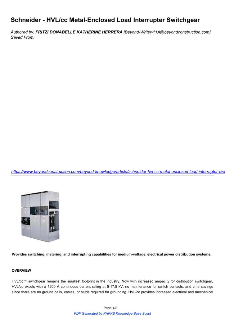 Schneider - HVL/cc Metal-Enclosed Load Interrupter Switchgear