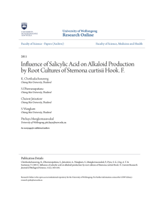 Influence of Salicylic Acid on Alkaloid Production