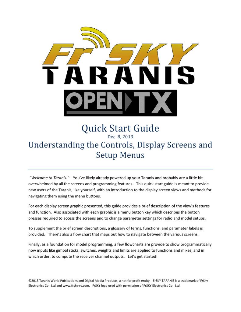 Taranis Quick Start Guide