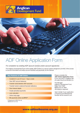 ADF Online Application Form - Anglican Diocese of Melbourne