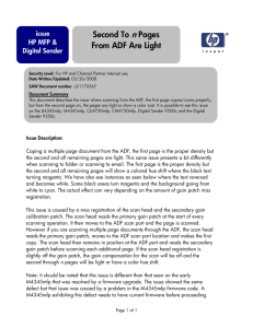 ADF second page light