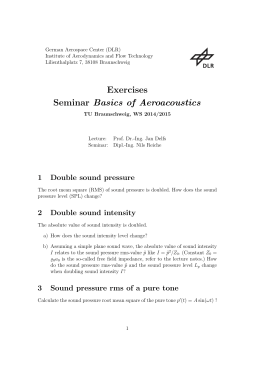 Exercises Seminar Basics of Aeroacoustics