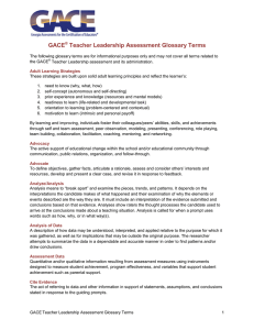 the Glossary for the GACE Teacher Leadership assessment