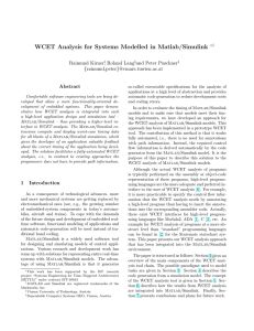 WCET Analysis for Systems Modelled in Matlab/Simulink