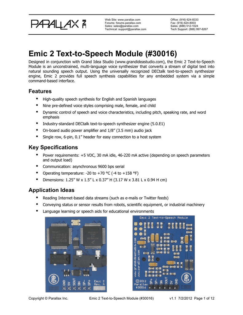 Emic 2 Text-to-Speech Module (#30016)