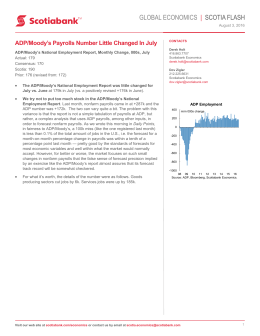 ADP/Moody`s Payrolls Number Little Changed In July