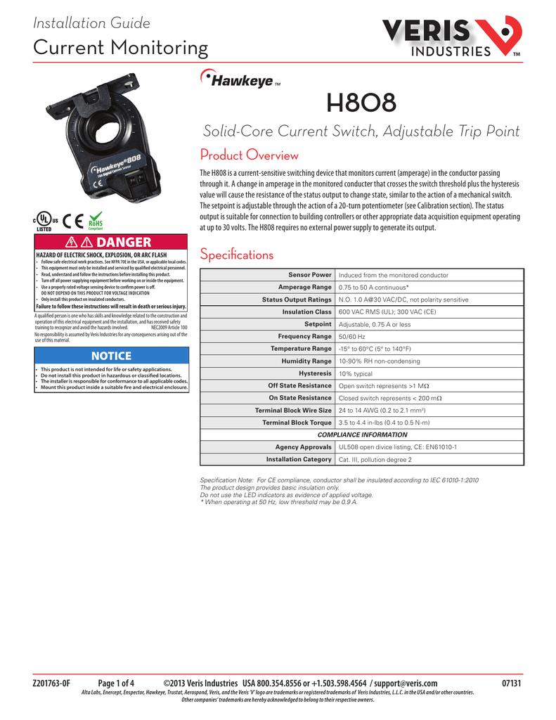 H808 Veris Industries Current Sensing Relay Hawkeye