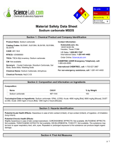 MSDS for Sodium carbonate