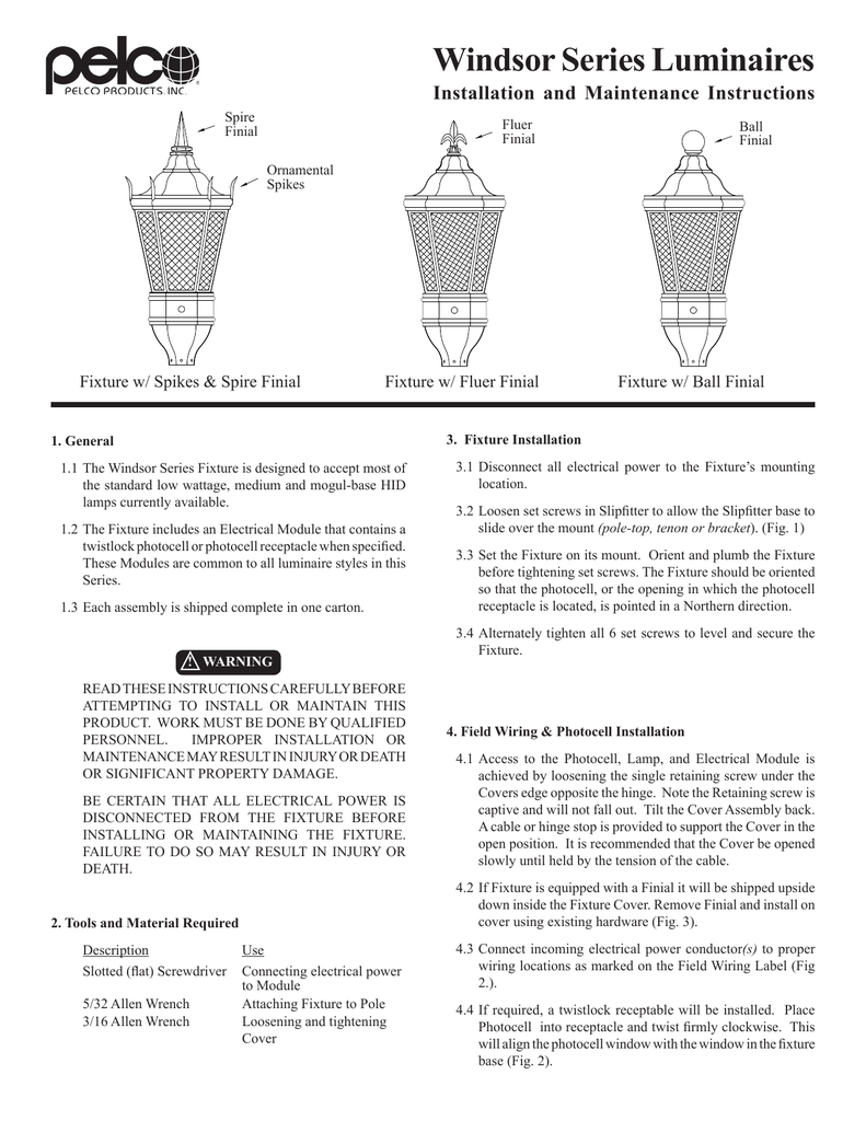 Windsor Series Luminaires Wiring A Mogul Lamp