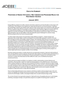 EXECUTIVE SUMMARY-Frontiers of Energy Efficiency