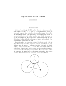 SEQUENCES OF SODDY CIRCLES 1. Introduction Let there be a