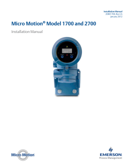 micro motion model 1700 and 2700 installation manual