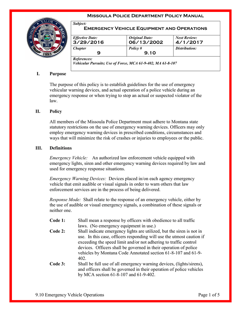 9 10 Emergency Vehicle Operations Page 1 of 5 Missoula Police