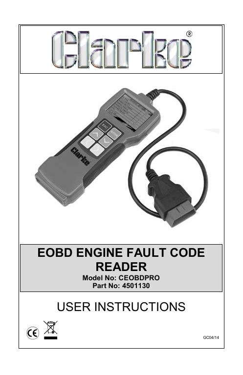 Clarke CEOBDPro Engine Fault Code Reader Manual