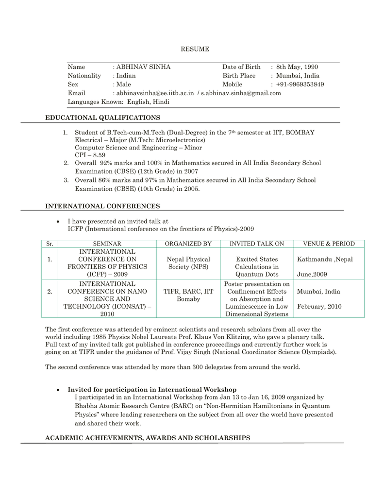 resume college of engineering - Iit Resume Computer Science