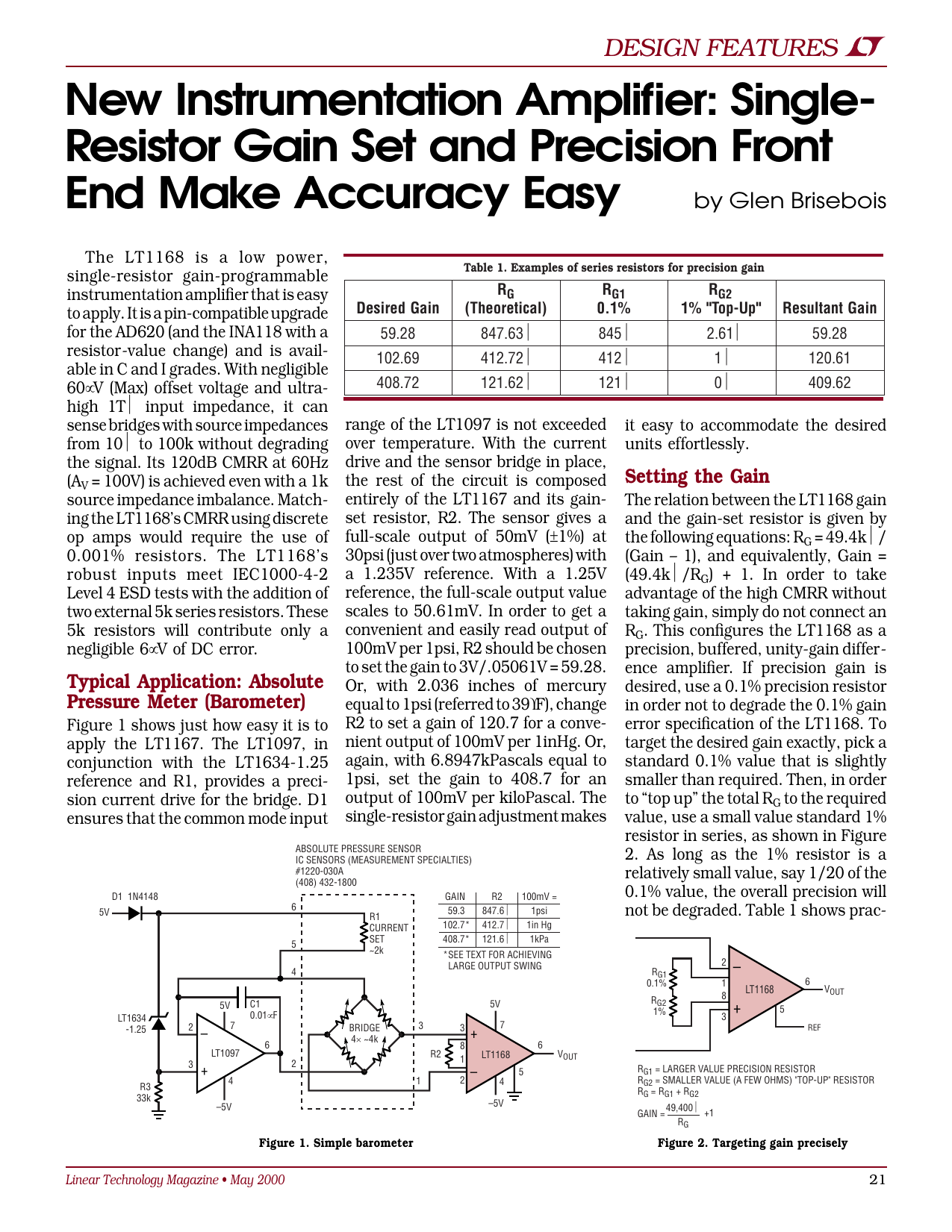 Single Resistor Gain Set And Precision Front End Make Accuracy Instrumentation Amplifier With Cmrr Calibration