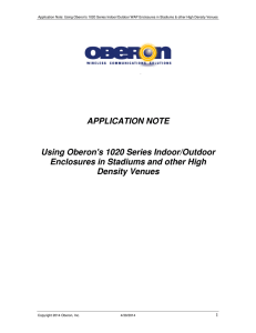 APPLICATION NOTE Using Oberon`s 1020 Series Indoor/Outdoor