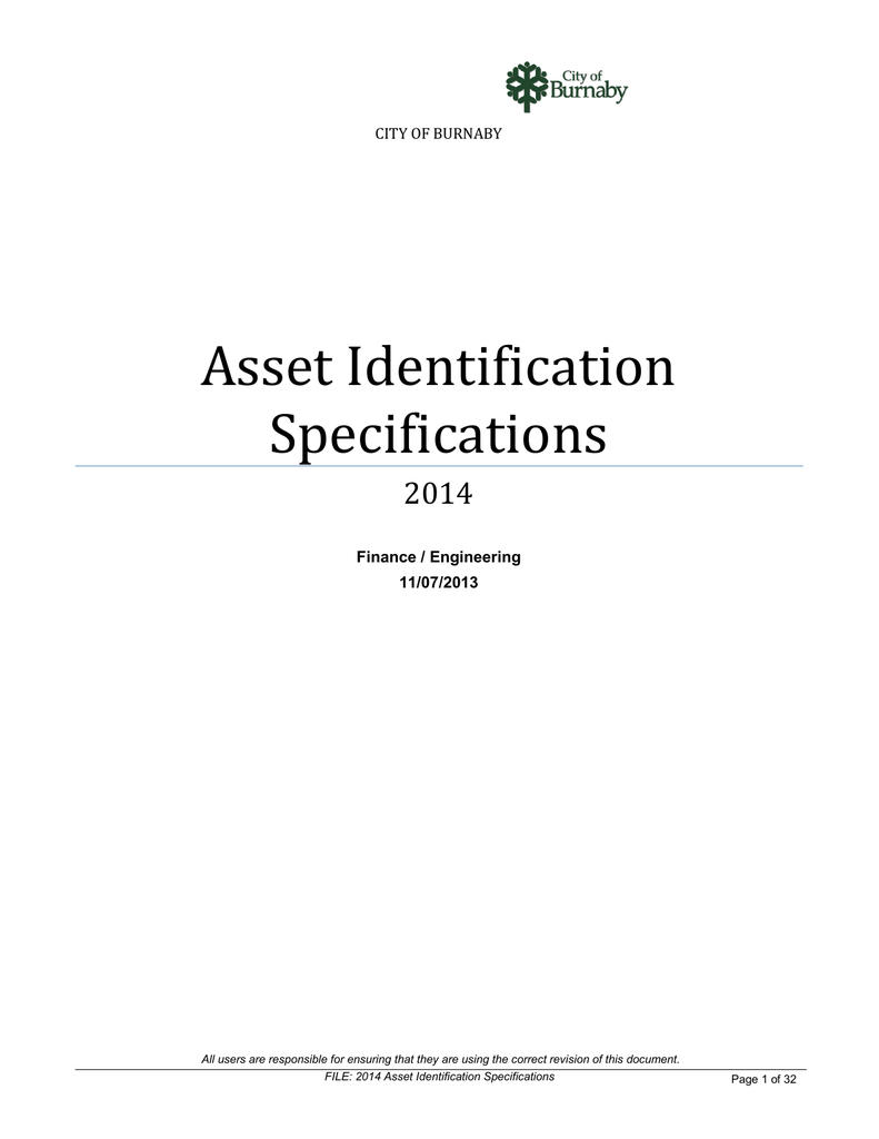 Asset Identification Specifications