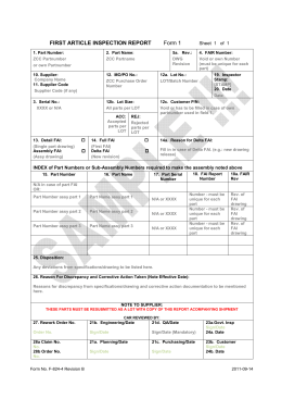 FIRST ARTICLE INSPECTION REPORT Form 1