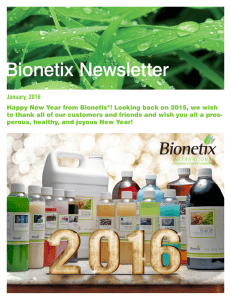Bionetix Newsletter, January 2016.