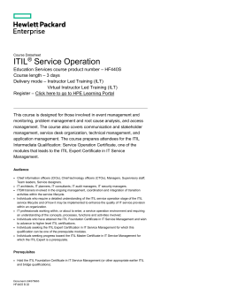 ITIL® Service Operation