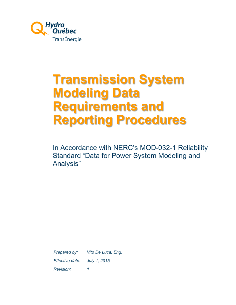 Payer Contravention Montréal >> Hydro Quebec Transmission System Modeling Data Requirements