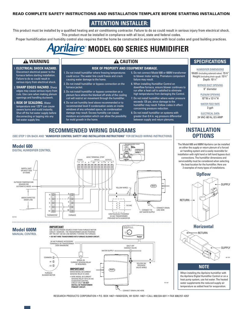 [SCHEMATICS_4UK]  Aprilaire 600-Series Humidifier Installation Instructions | Aprilaire Model 600 Wiring Diagram |  | Studylib