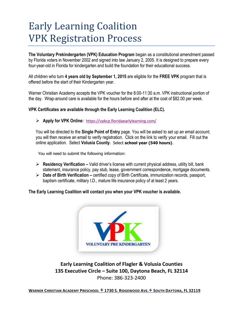 Early Learning Coalition Vpk Registration Process