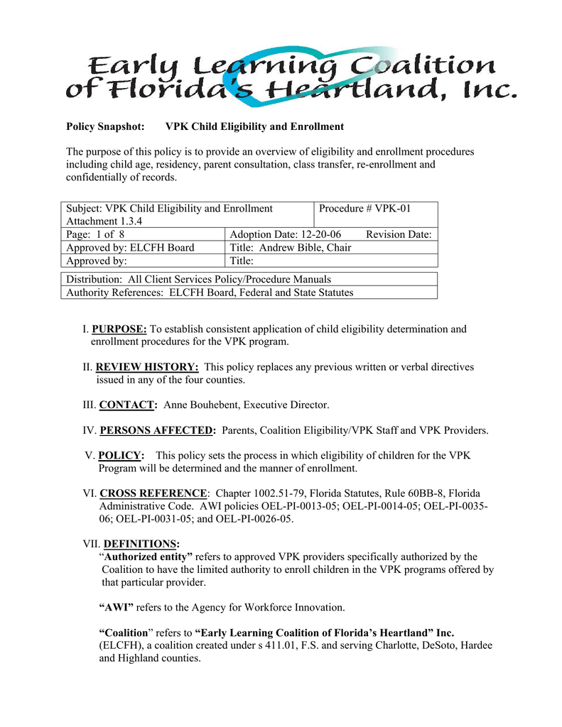 Vpk 01 Child Eligibility Policy Early Learning Coalition Of Floridas