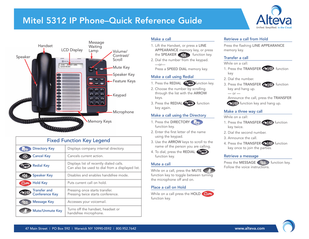 Mitel 5312 IP Phone–Quick Reference Guide