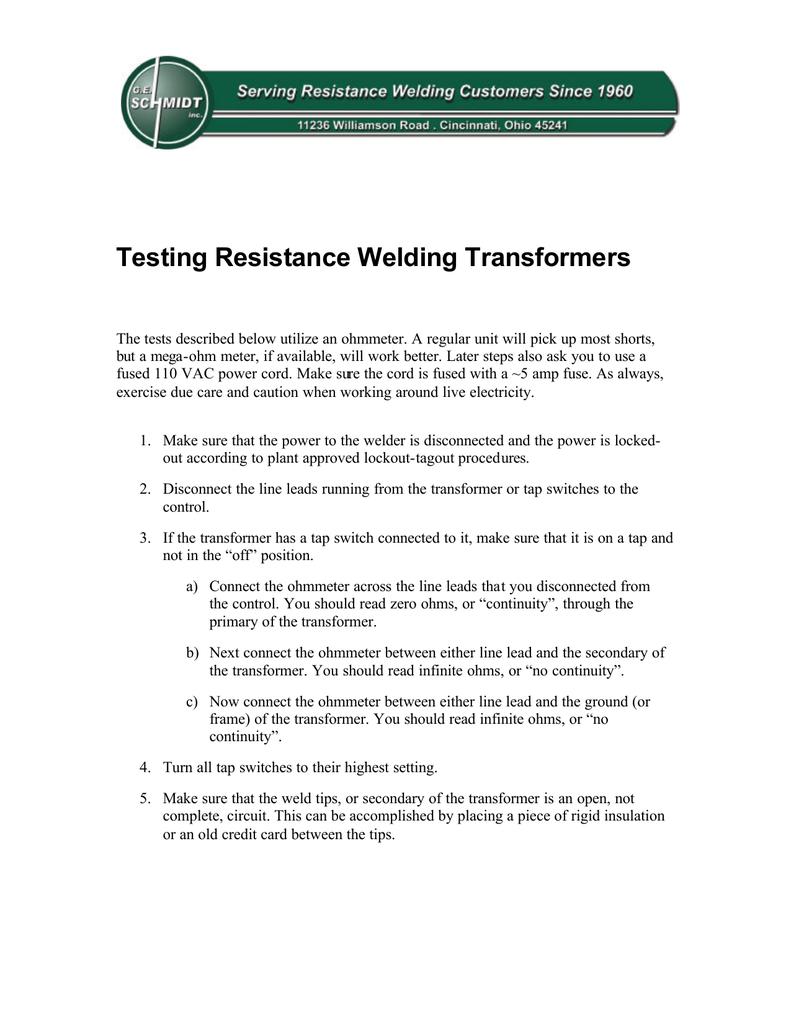 Testing Resistance Welding Transformers