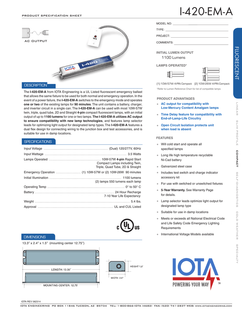 IOTA ICE-420-EM-A Emergency Ballast Specification Sheet on