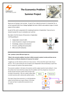 The Economics Problem Summer Project