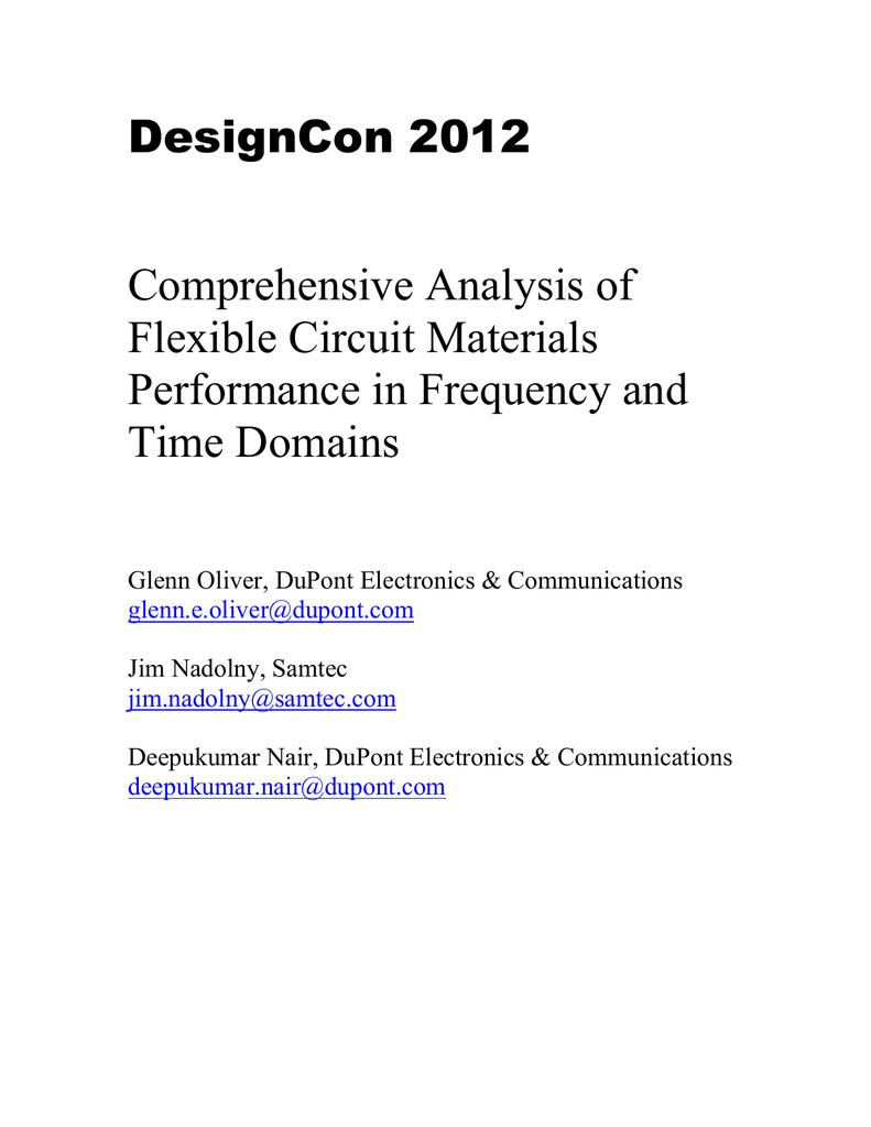 DesignCon 2012 Comprehensive Analysis of Flexible