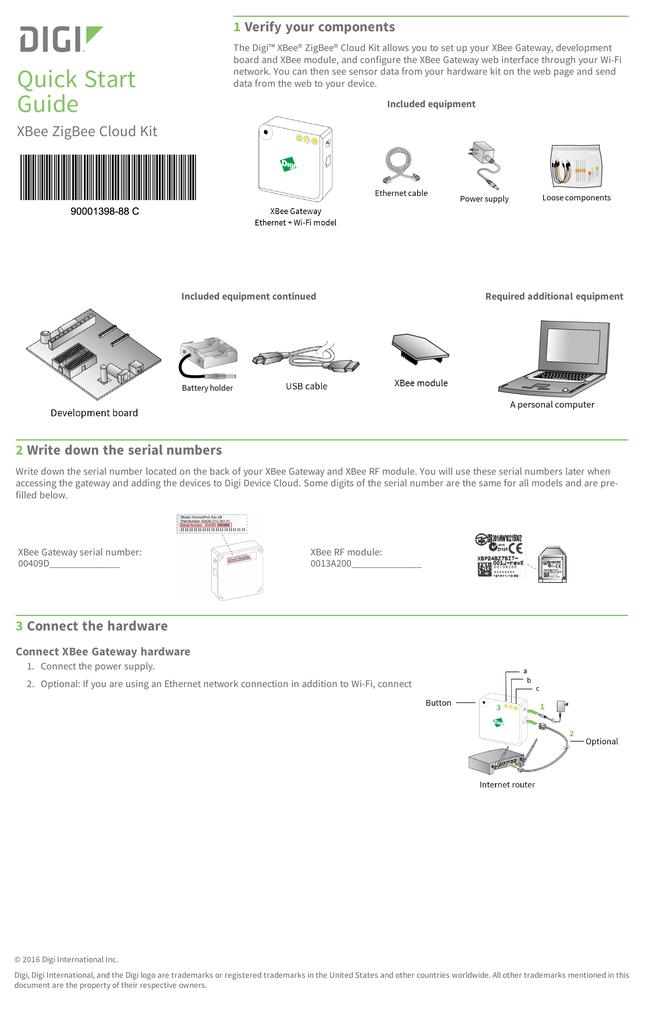 XBee ZigBee Cloud Kit Quick Start Guide