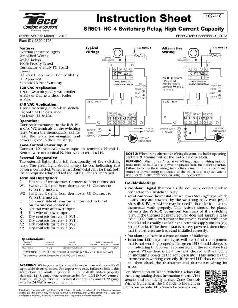 Taco Sr501 Wiring Diagram from s2.studylib.net