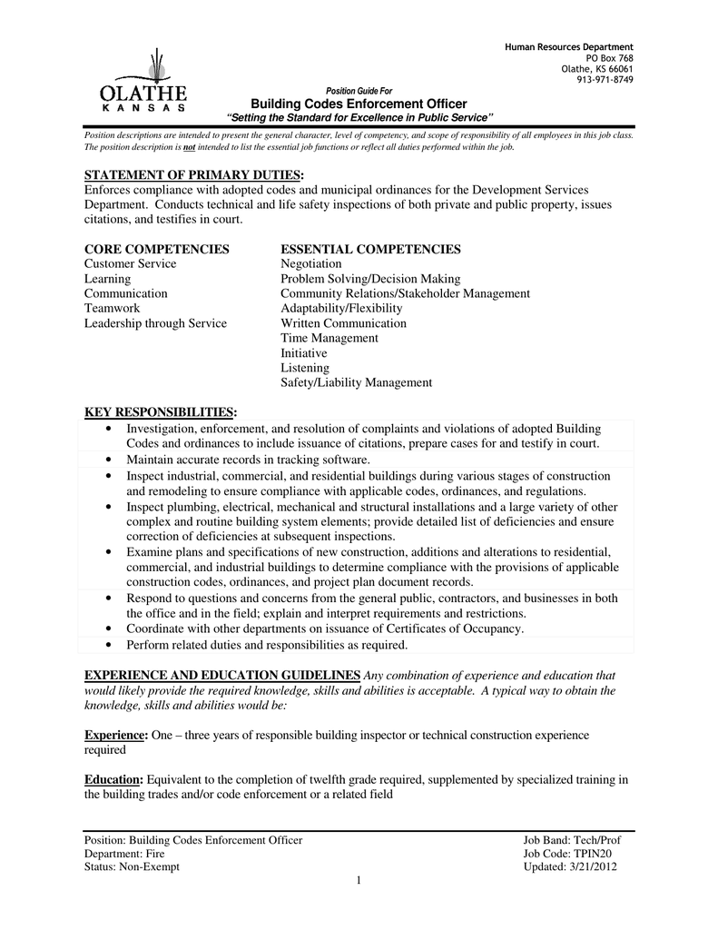 Building Codes Enforcement Officer STATEMENT OF PRIMARY