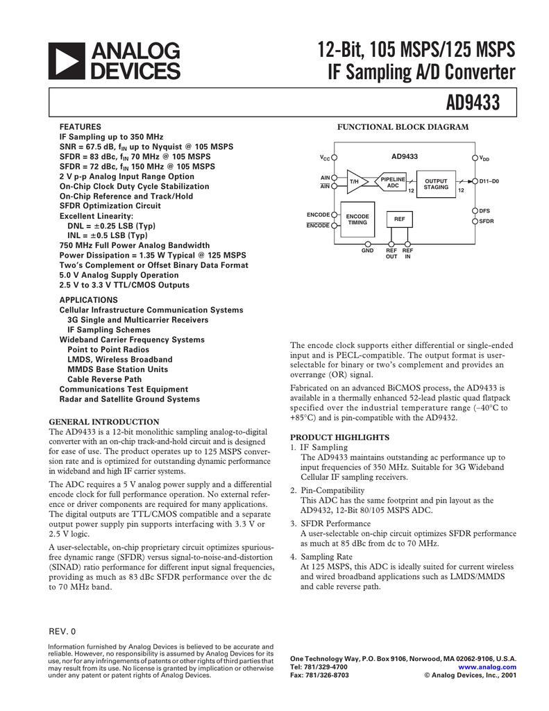 AD9433 12-Bit, 105 MSPS/125 MSPS IF Sampling A/D Converter