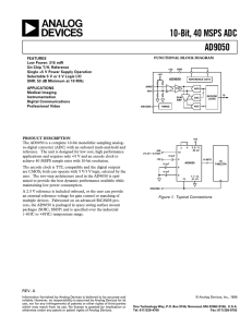 10-Bit, 40 MSPS ADC AD9050 - RS Components International