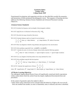 Geometric Optics Teacher Notes College Ready MSP