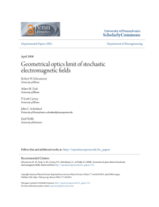 Geometrical optics limit of stochastic electromagnetic fields