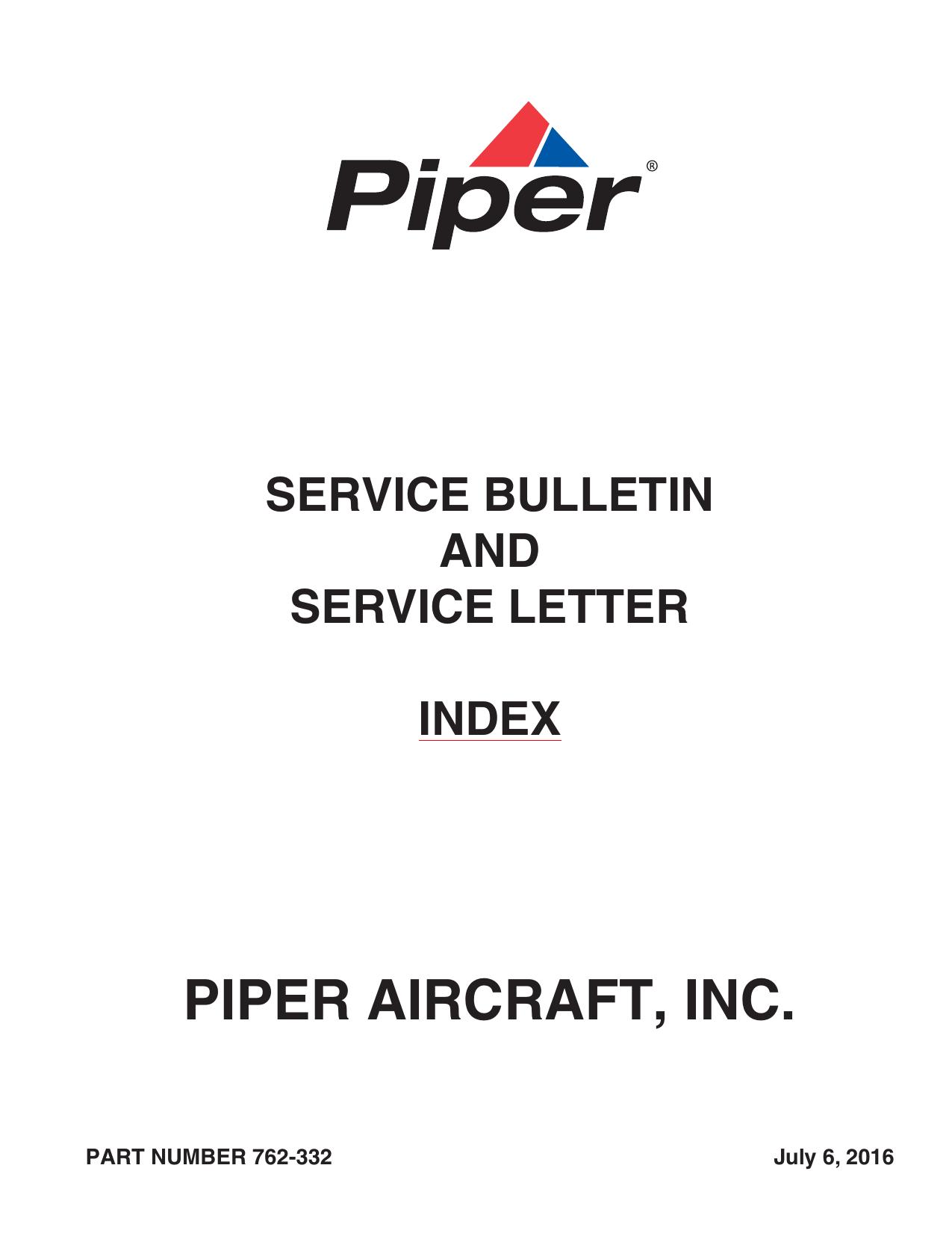 Service Bulletin - Service Letter Index