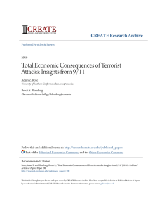 Total Economic Consequences of Terrorist Attacks