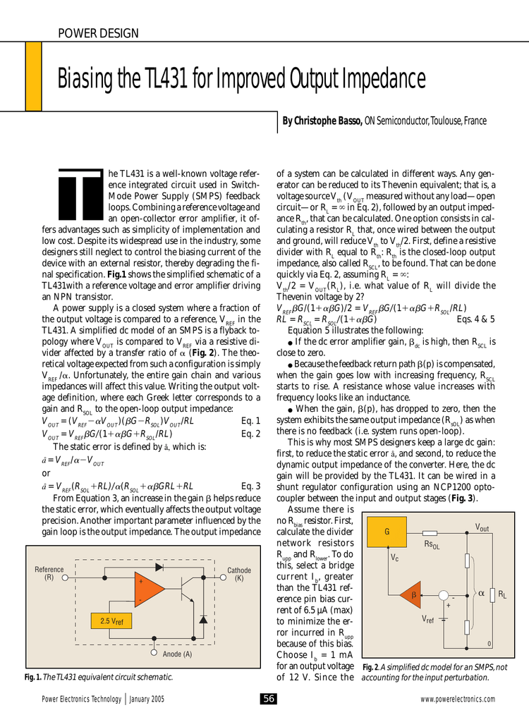 Biasing the TL431 for Improved Output Impedance