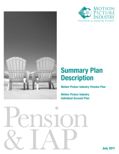 Summary Plan Description - Motion Picture Industry Pension